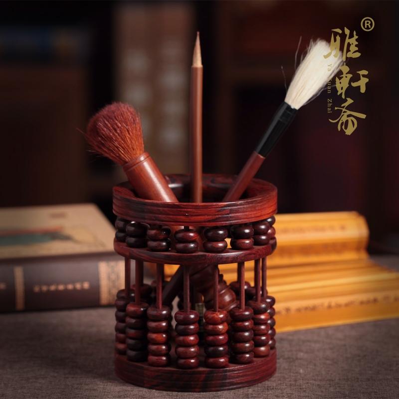 黑檀經典款雅軒齋紅酸枝木實木毛筆筆筒黑檀木質復古算盤老紅木雕工藝品擺件