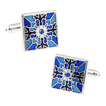 Королевский синий выгравированы ремесла площади кристалла запонки качество рукав винт запонки