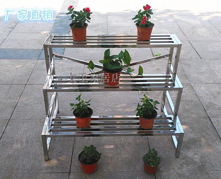 Personalizado flor de aço inoxidável multi - camada rack de armazenamento Ao ar Livre de metal, 3 varanda interior com PISO Tipo 304