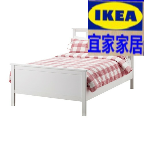 Domestic purchasing IKEA Wuhan nice bedstead with bed board white / Black Rui Rui solid wood bed