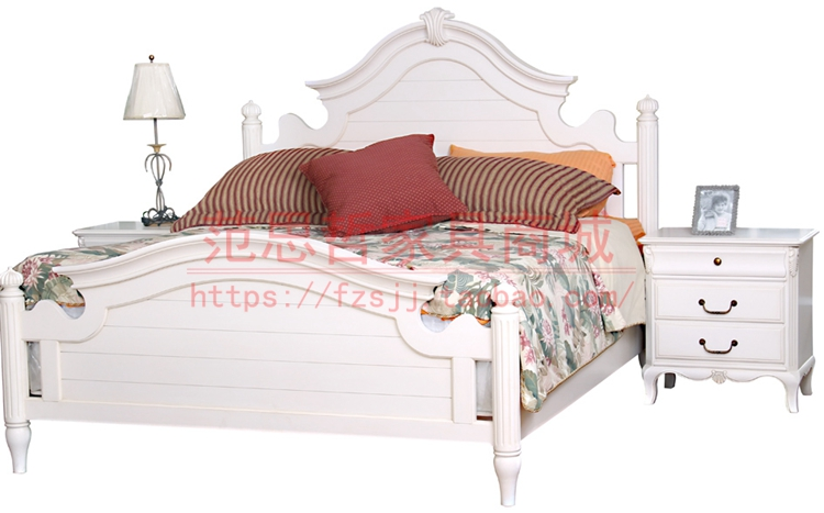 Star Furniture Fansi luxury solid wood bed double bed authentic American white 3010 - 111 - 112