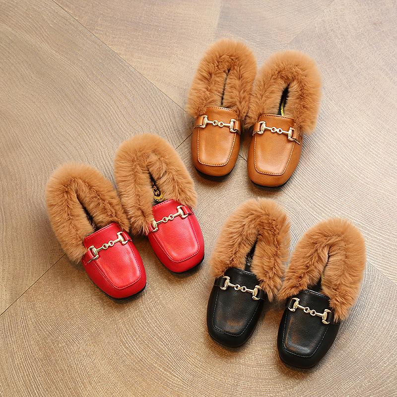 天天特价女童豆豆鞋加绒兔毛公主鞋秋冬韩版中大童毛毛鞋奶奶鞋