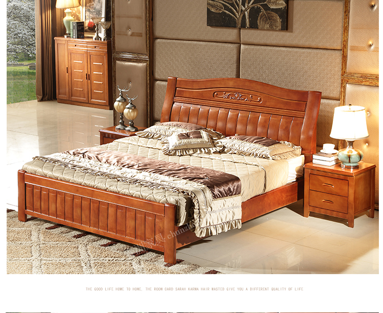 All solid wood beds, 1.8 meters Chinese style double oak beds, 1.5 meters, simple, high and low bed, modern marriage bed, bedroom furniture