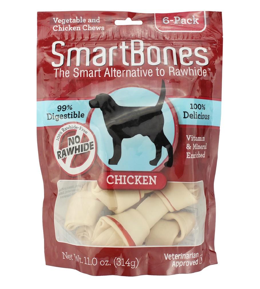 The SmartBones pet dog snacks chicken bone trumpet molar 6 pack dog chews