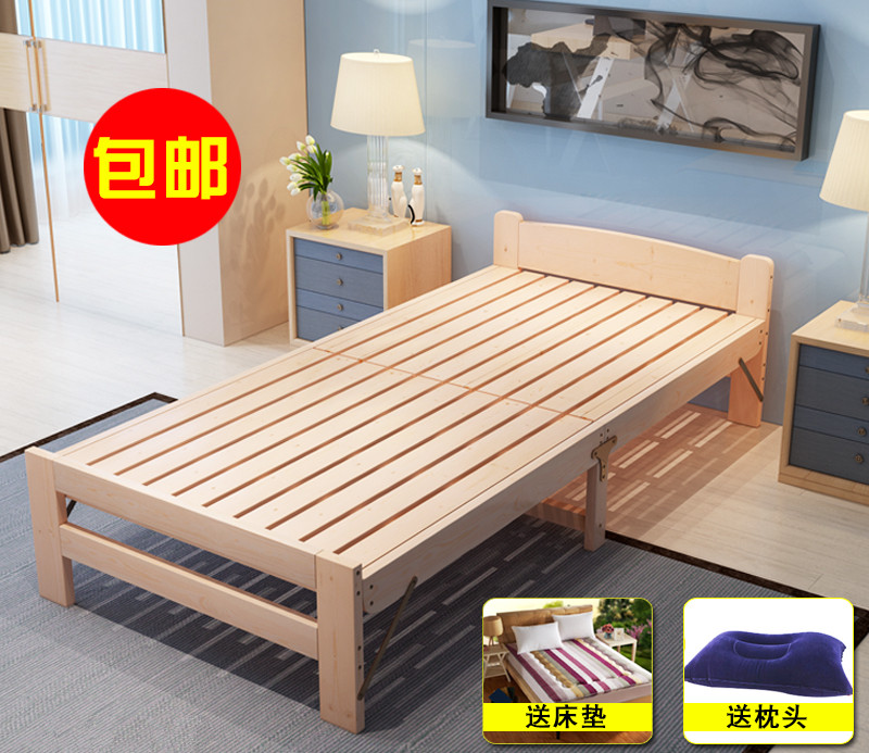 Hotel economical mattress bed, thickening single bed, old bed, folding bed, wooden child, adult