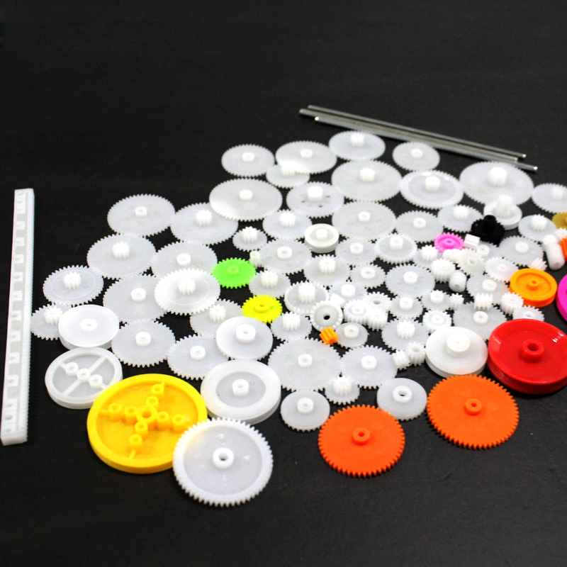 106 kinds of plastic gear package, rack rubber band, plastic gear belt drive wheel, DIY toy car gear