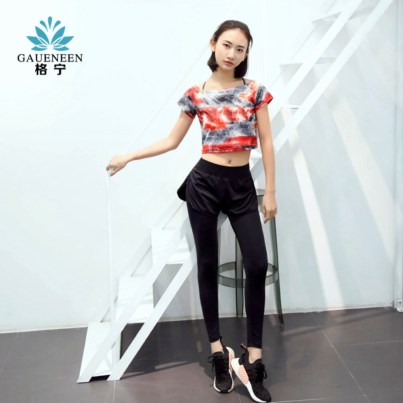 Spring and summer gening thin fitness wear three piece suit female sexy navel false two tights yoga dance clothing