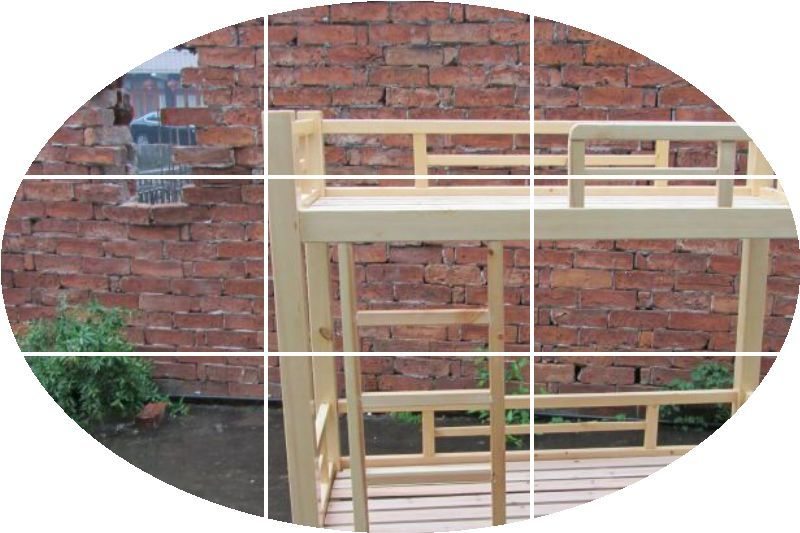 Log children double bed, solid wood double bed, kindergarten special bed, removable baby bed