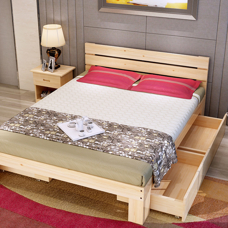 One double bed single bed dormitory bed bed solid wood furniture simple Home Furnishing meters