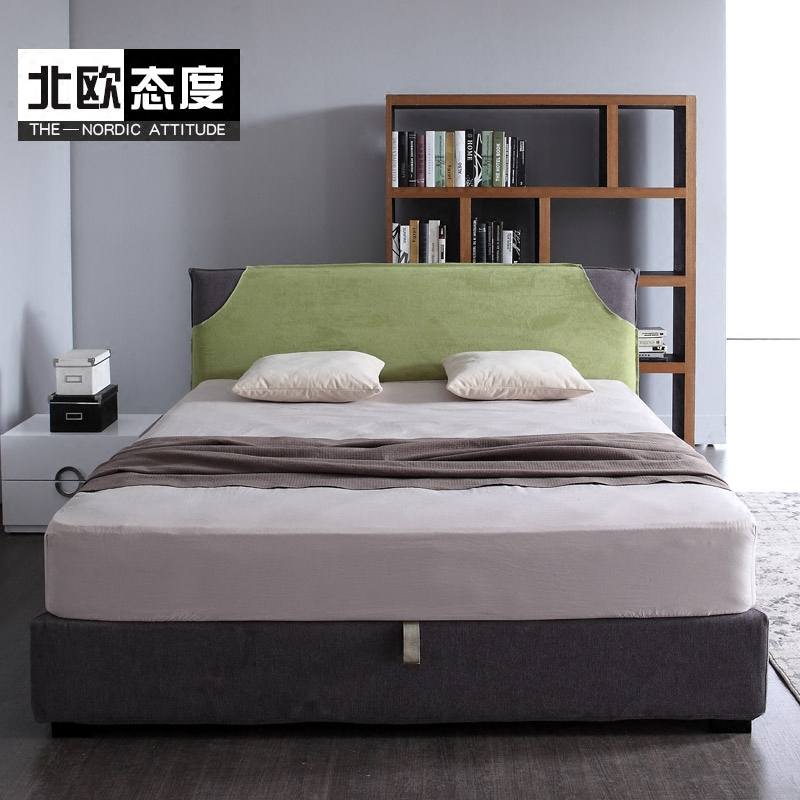 Double bed cloth washable fabric bed Zhuwo 1.8 meters large-sized apartment pneumatic storage bed North Ouyi