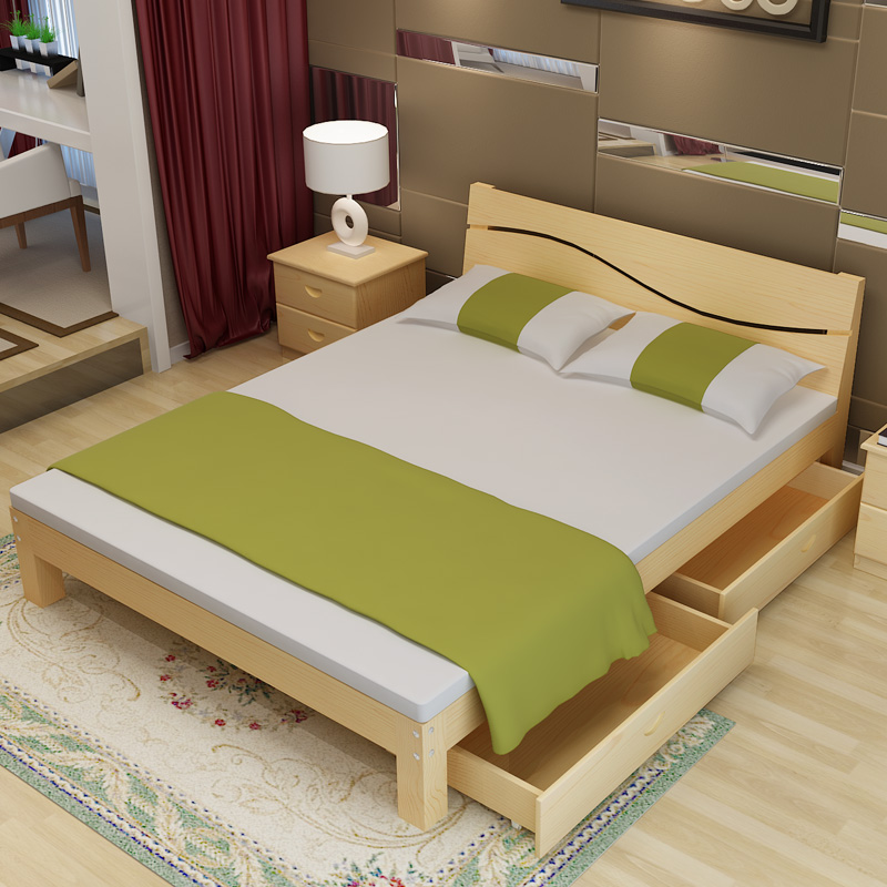 Solid wood pine single double bed 1.5 guest room 1.5 solid wood bed bed 1.8 meters solid wood bed double easy