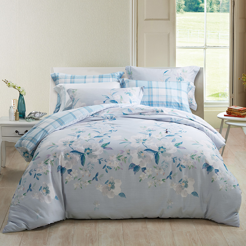 Violet spring bamboo bamboo cotton linen Tencel language language at the beginning of four sets of 4 sets of bedding 1.5/1.8m