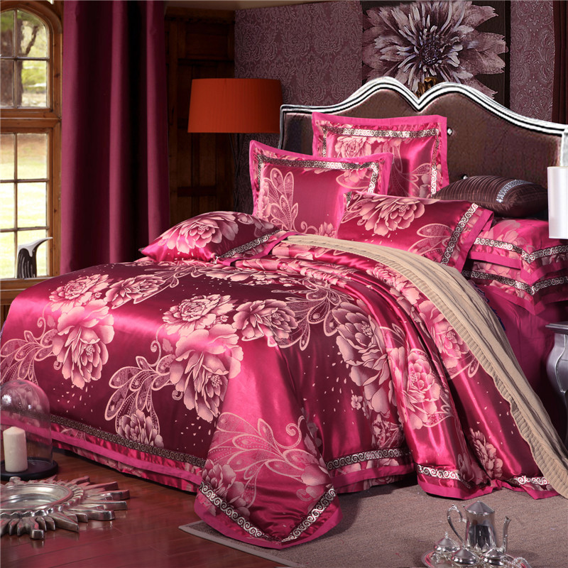 2017 four sets of luxury Tencel Satin Jacquard COTTON BEDSPREAD bedding European style wedding