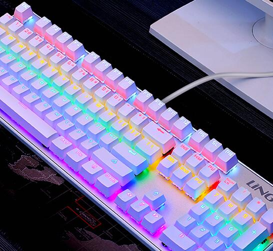 Mechanical keyboard with 104 keys green tea black cable shaft shaft shaft shaft red marquee lol