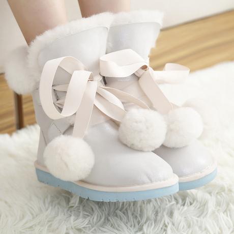 Снег сапоги женщина в трубке зимой студенты бантом хлопок обувь девочек милый шар шерсть сладкий женские сапоги корейской версии плюс бархат