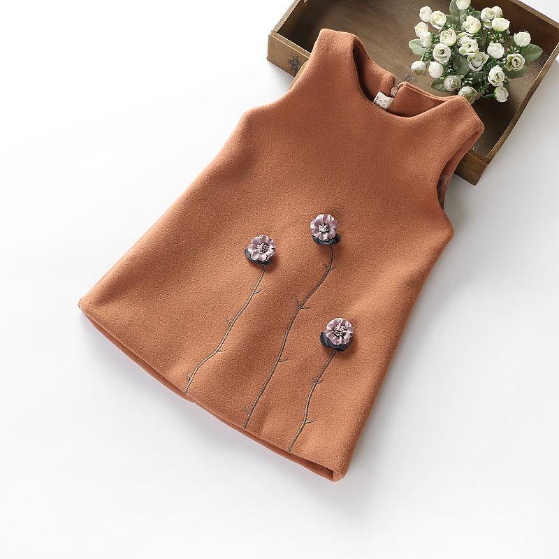女童背心裙秋婴儿公主裙秋冬裙子呢料连衣裙3-8岁女宝花朵呢子裙