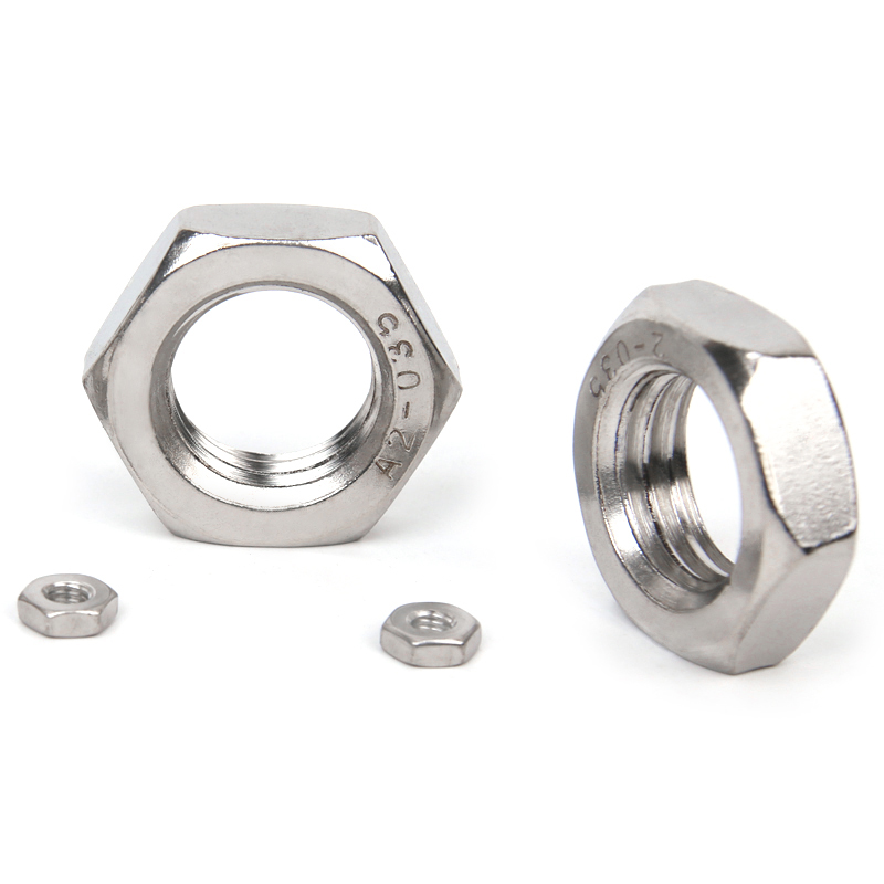 304 stainless steel 1.25 teeth wide thin outer six angle fine tooth nut flat nut M10M12M14M16*x1.25mm