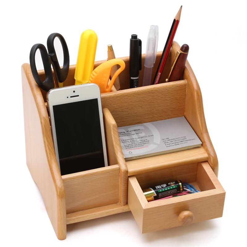 櫸木帶抽屜筆筒收納盒辦公實木收納盒辦公文具收納盒商務名片座筆筒大號座架名片刻字收