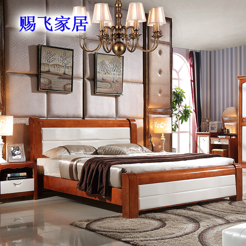 Mediterranean oak bed 1.8 meters, 1.5 meters double beds, all solid wood bed thickening board, special mail wedding bed