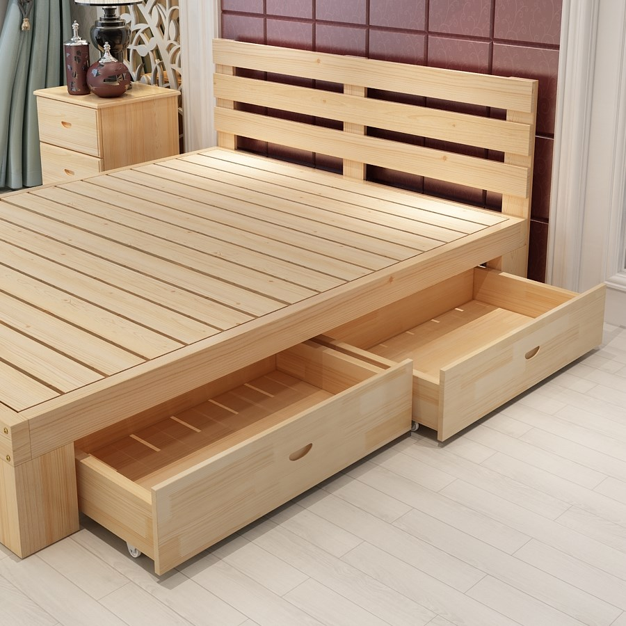 Modern minimalist solid wood double bed, 1.8 meter economy type 1.5 oak high box storage bed 1.2m1.35 single bed