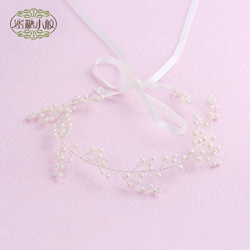 El Hada de cristal blanco de dama de honor de la cinta el vestido de novia de la Corona de perlas tocados pelo coreano capitatum hairband cinta de pelo