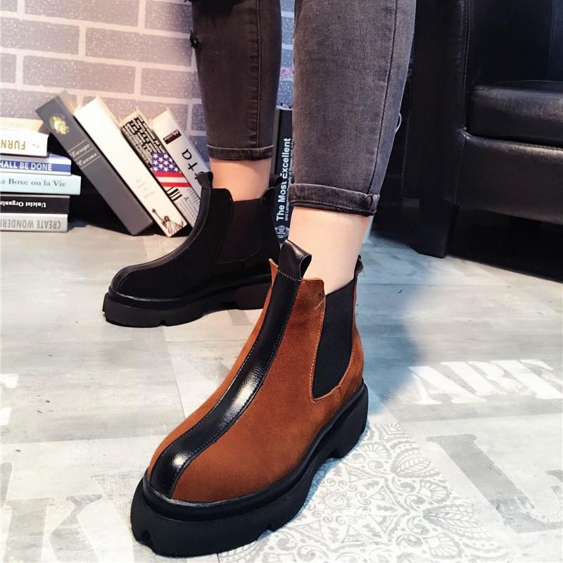 欧美真皮短靴韩版大头平底马丁靴平底学生休闲女鞋工靴机车靴潮鞋