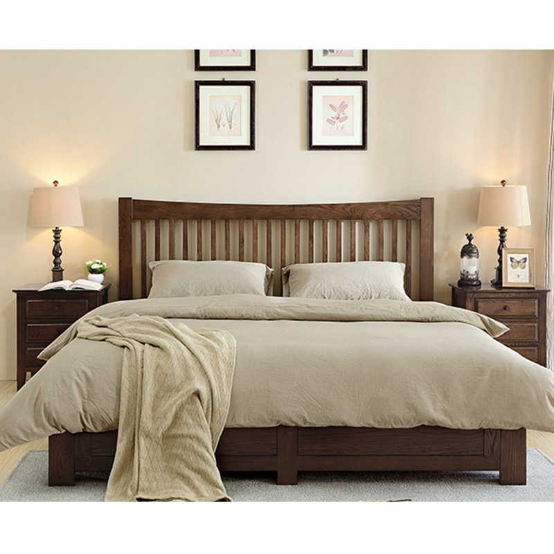 The real wood double bed imported modern minimalist white oak bed 1.5 meters 1.8 meters high box bed bed storage box