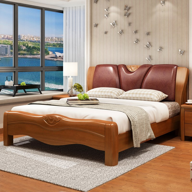 Solid wood bed soft back double 1.8 meter box storage bed 1.5 meters Chinese solid oak bed bed bedroom