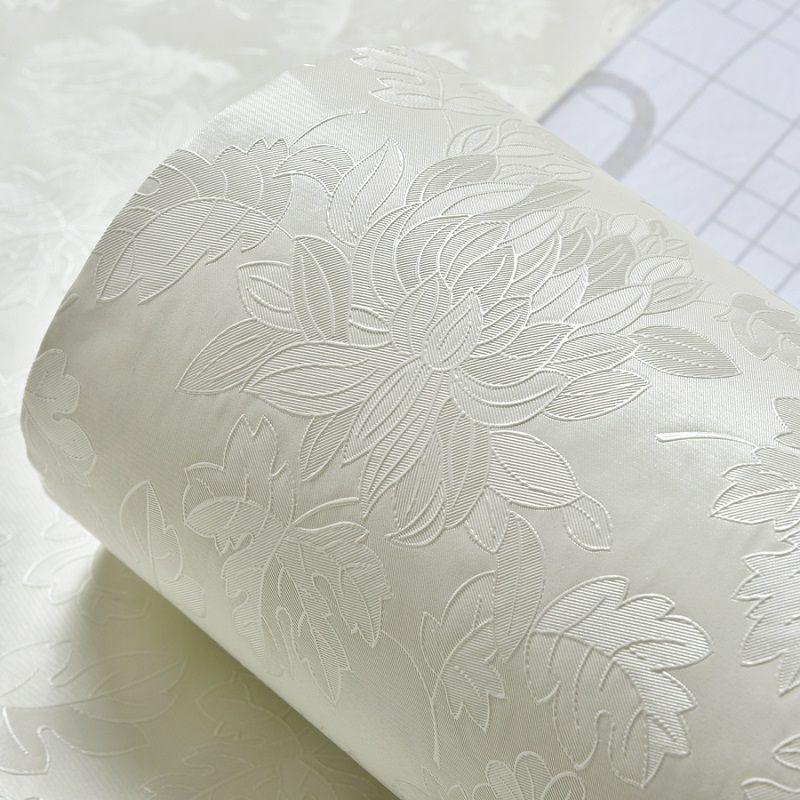 【米白玫瑰】寬61cmx3米大加厚墻紙自粘 臥室歐式大馬士革溫馨田園壁紙素色暗花貼紙