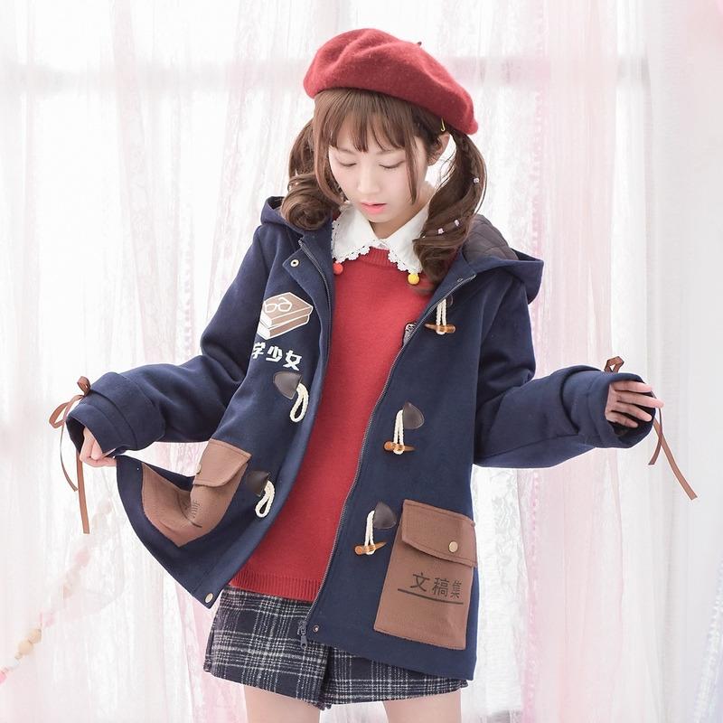 Áo khoác nữ liền mũ chất liệu dạ cho mùa đông thêm ấm áp