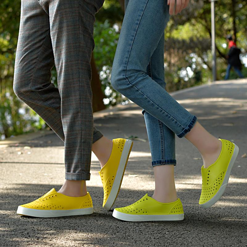 情侣款开口笑洞洞鞋镂空运动休闲鞋男女鞋水鞋雨鞋沙滩鞋夏季厚底