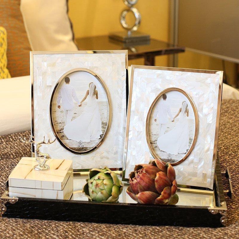 白貝相框6寸歐式樣板間擺件白貝拼接長方形歐式相框擺臺家居飾品桌面擺件