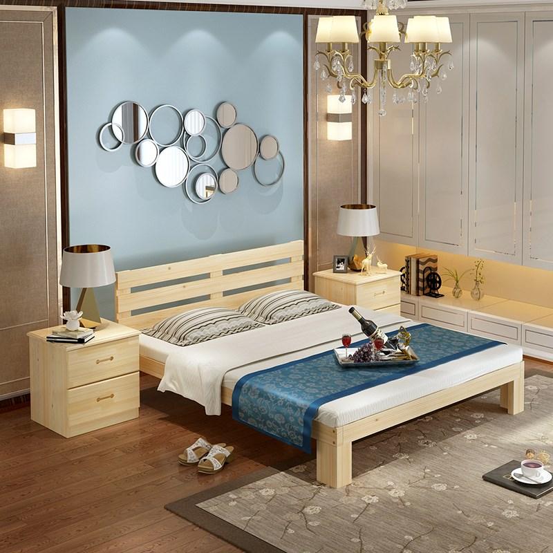 La cama de madera maciza de madera de pino de 1,8 metros de doble cama cama simple de 1,2 m de 1,5 millones de niños en la cama de una cama de madera