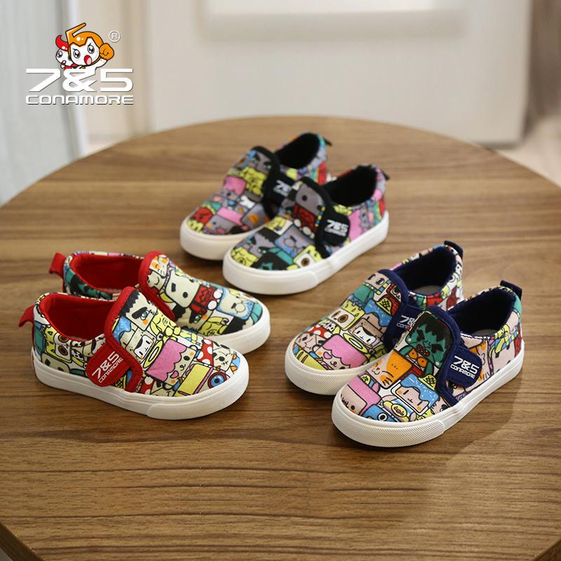 春季3岁半儿童帆布鞋4男童5女童卡通球鞋6套脚懒人鞋7乐福单鞋8 9