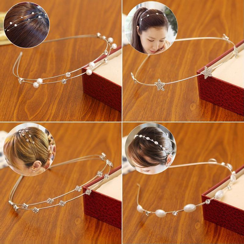 South Korea has a wide cloth hoop striped classic headdress hair band Ms. ring hairpin