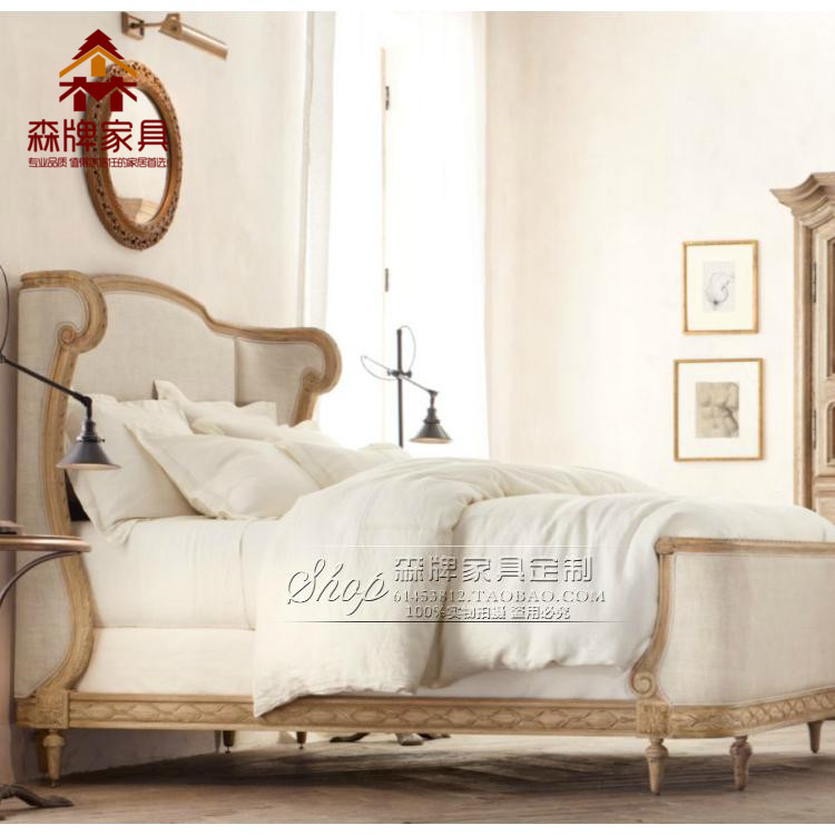 American country solid wood bed, 1.8 meters double cloth beds, oak furniture retro carved queen bed master bedroom wedding bed