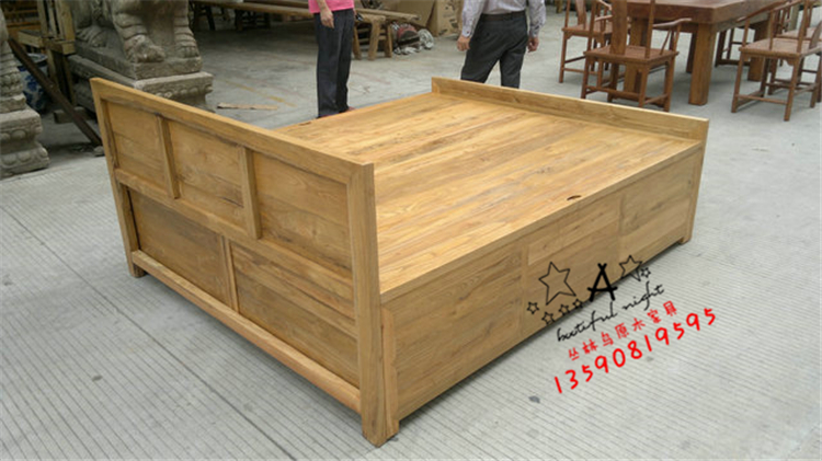 CLN-209 solid wood double bed / floor cabinet bed / chest solid wood big bed / Chinese big bed / size can be made to order