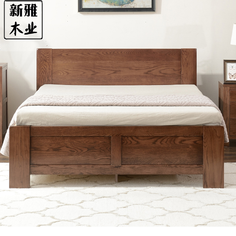 Pure wooden box body entrance, red oak bed double bed, simple modern high box storage bed, pneumatic bed new style
