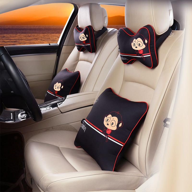コミカルな表情包車ヘッドレスト車用のクッションシート護頚枕四季漫画の車載で内装可愛い