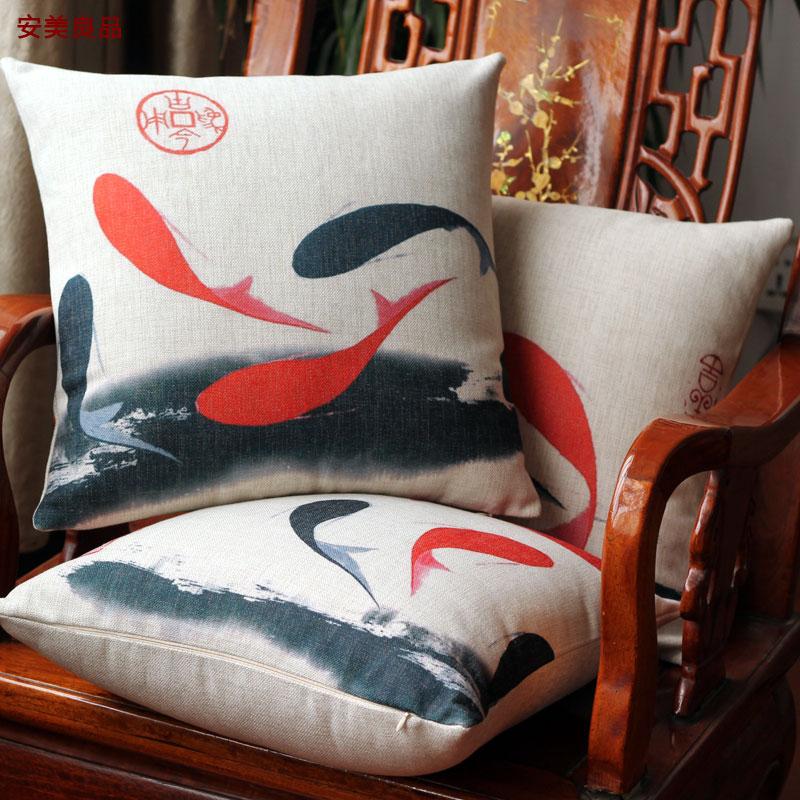 現代中国の古典に年々魚新しい復古麻綿ソファーベッドクッションイケア抱き枕腰背もたれ車のクッション