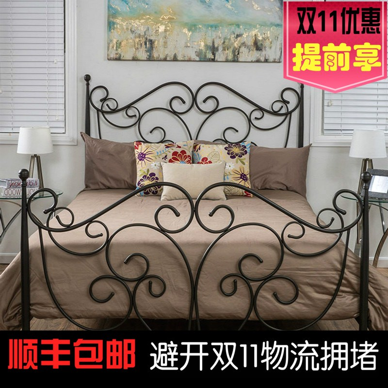 Double beds 1.5 m 1.8 m 1.2 m children princess bed bedroom bed single bed iron bedstead