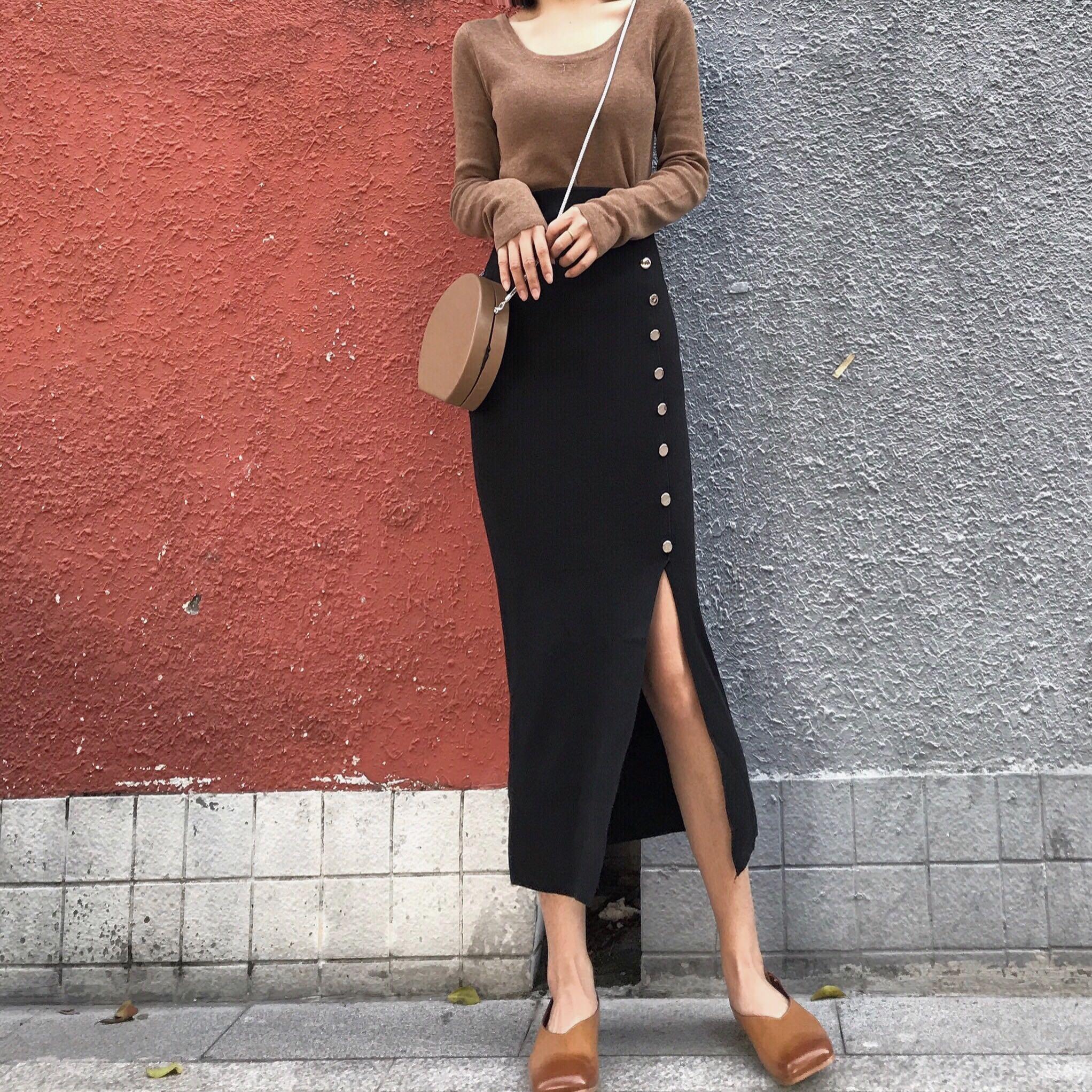 韓風Chic秋鼕高腰修身顯瘦針織半身裙一排扣開叉包臀中長打底裙女