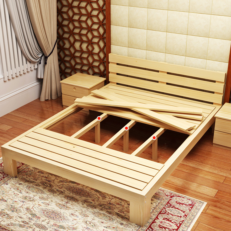 Nordic solid wood bed, simple double soft marriage bed meters, modern bedroom furniture package delivery and installation of 11 solid wood beds