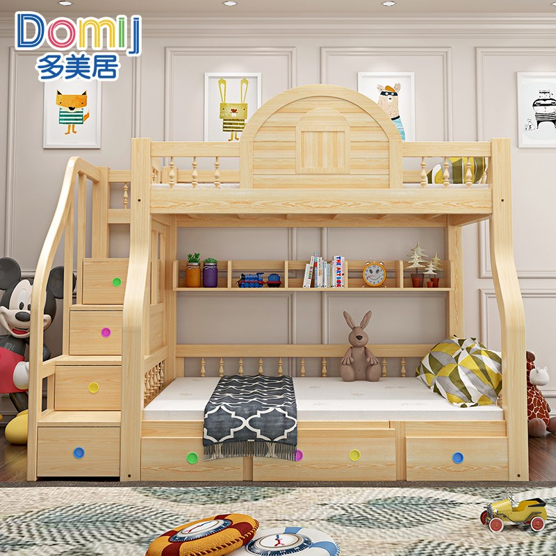 High book table, mother and child bed, down table can combine children bed, adult double bed with low bed, get out of bed, work more