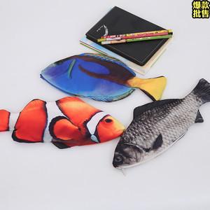 女生超萌小丑鱼青鱼创意化妆小包装笔手拿小包包袋卡通时尚女包包