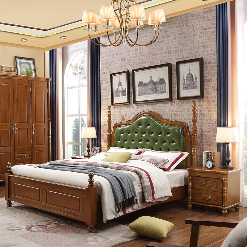 Leather bed, big bed, soft bed, American style solid wood bed, 1.8 meters storage double bed wedding bed