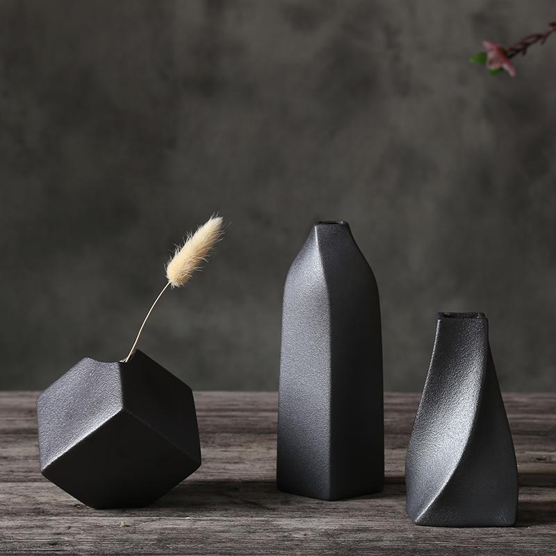 a陶瓷復古簡約創意水培桌面小花瓶 金屬粗陶餐客廳擺件家居裝飾品