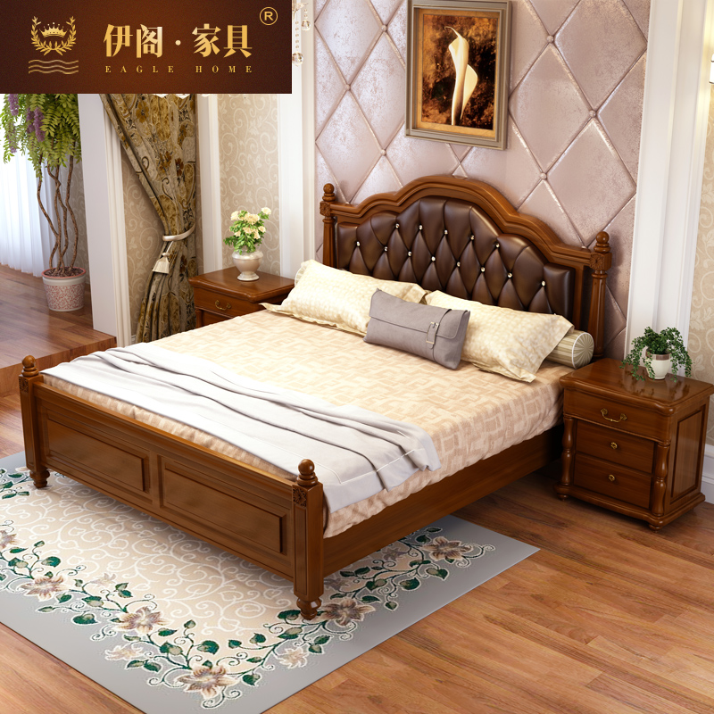 American country all solid wood double bed, 1.8 meters oak high box, master bedroom, wedding bed, leather bed, leather furniture, bed furniture