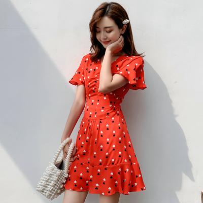3075实拍2019夏天很仙的法国小众桔梗裙子仙女甜美红色连衣裙夏款