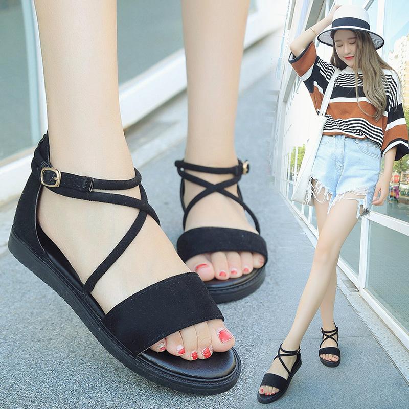 韩版低跟凉鞋女夏2016新款交叉绑带复古罗马鞋一字扣学生平底凉鞋